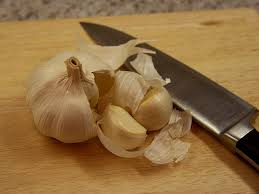 garlic + knife